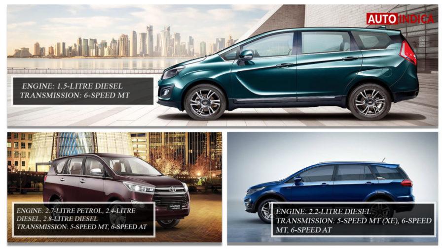 Mahindra Marazzo vs Toyota Innova Crysta vs Tata Hexa